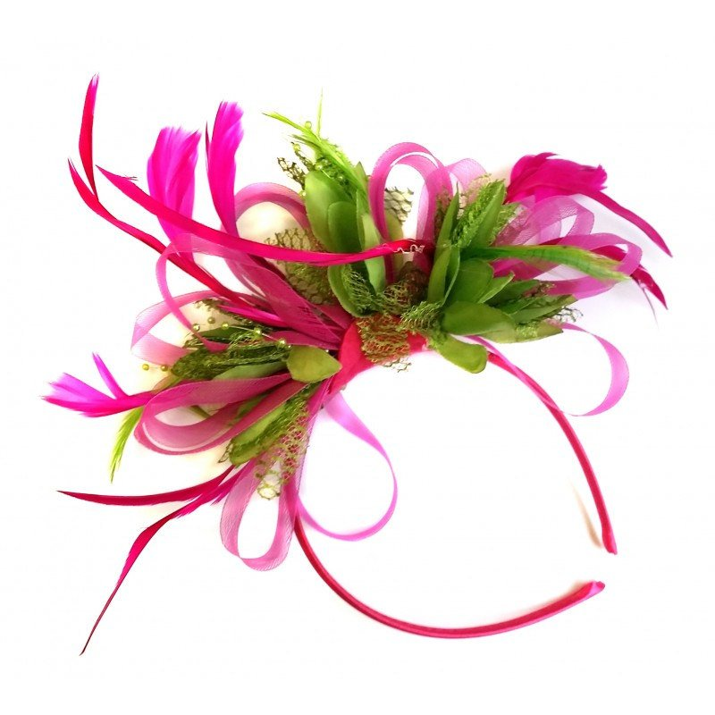 Caprilite Fuchsia Pink & Lime Green Feathers Fascinator on Headband