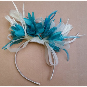 Caprilite Cream And Turquoise Fascinator Long Feathers On Headband