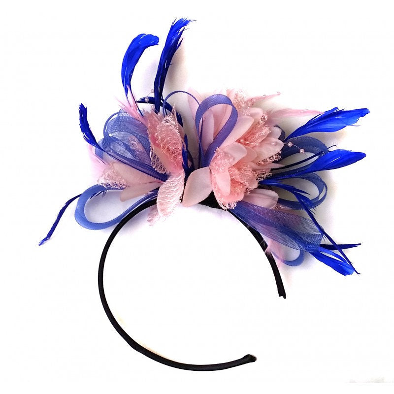 Caprilite Royal Blue & Baby Pink Feathers Fascinator On Headband Wedding