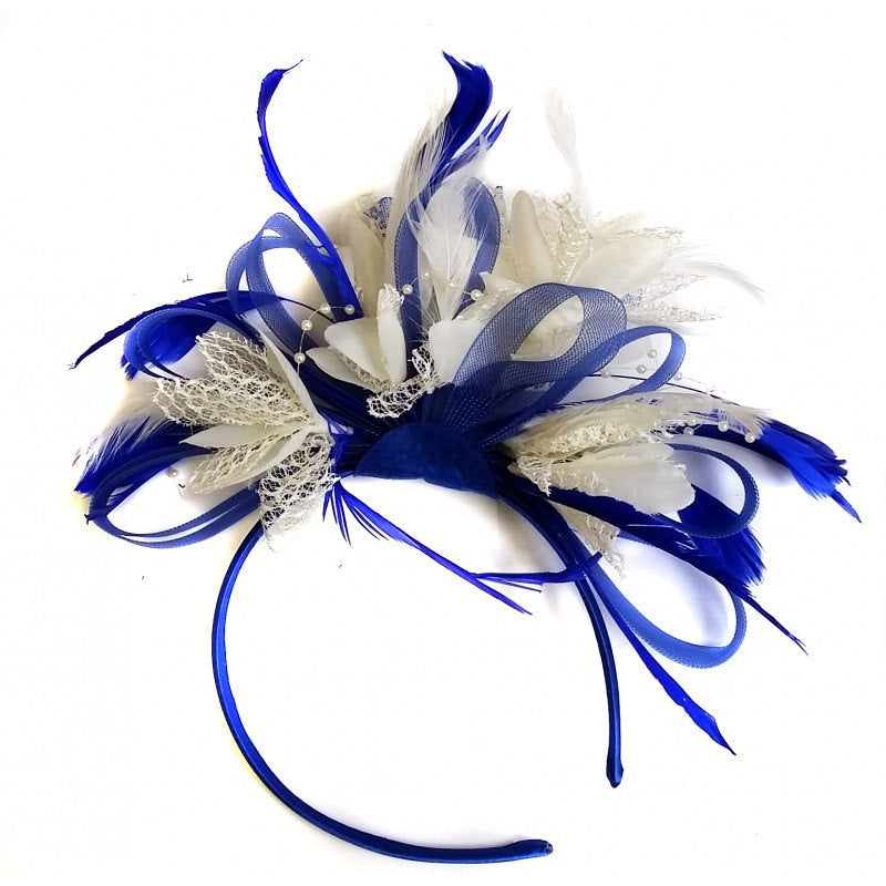 Caprilite Royal Blue & Cream Feathers Fascinator On Headband