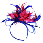 Caprilite Royal Blue & Fuchsia Pink Feathers Fascinator On Headband
