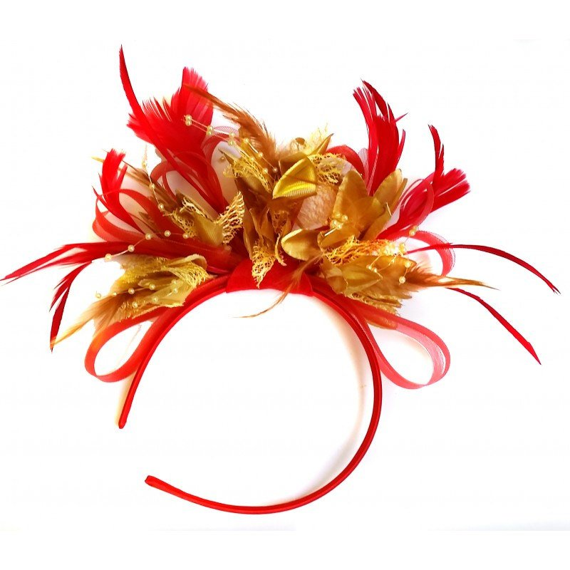 Caprilite Scarlet Red & Gold Feathers Fascinator On Headband