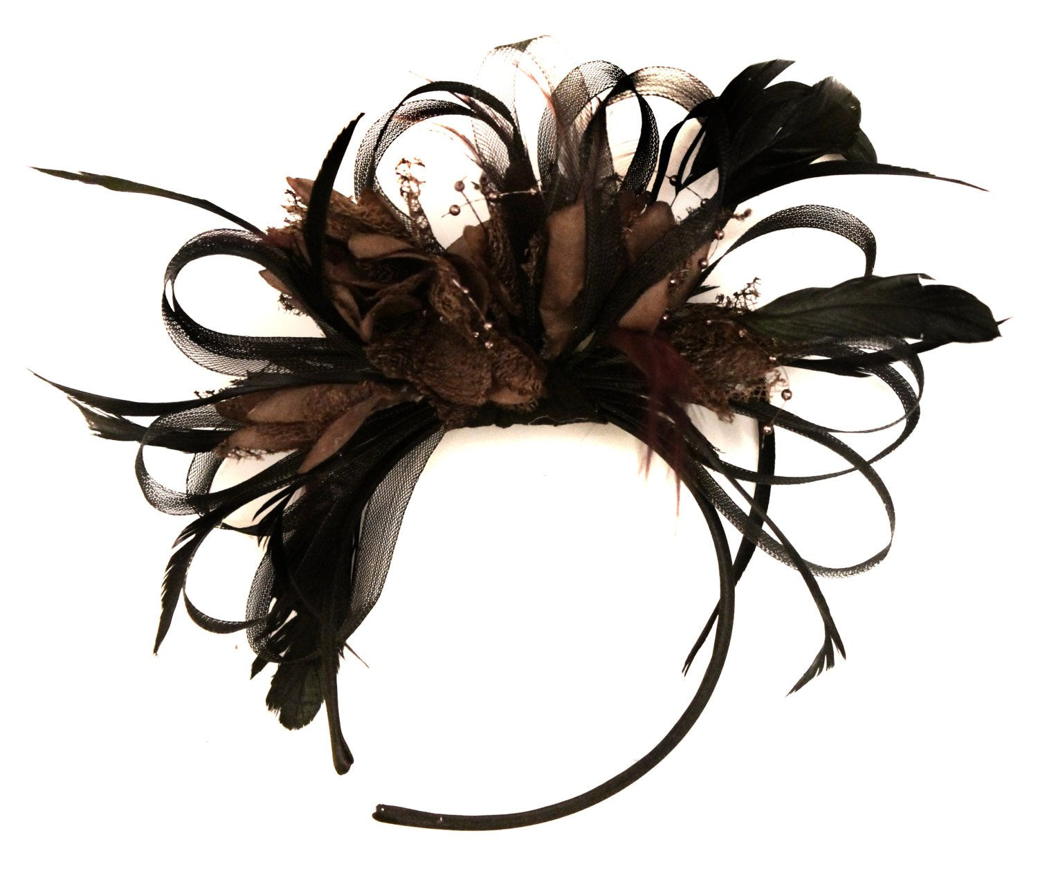 Caprilite Black Hoop & Coffee Brown Feathers Fascinator on Headband