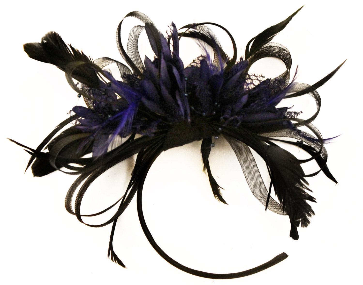 Caprilite Black Hoop & Midnight Blue Feathers Fascinator Headband