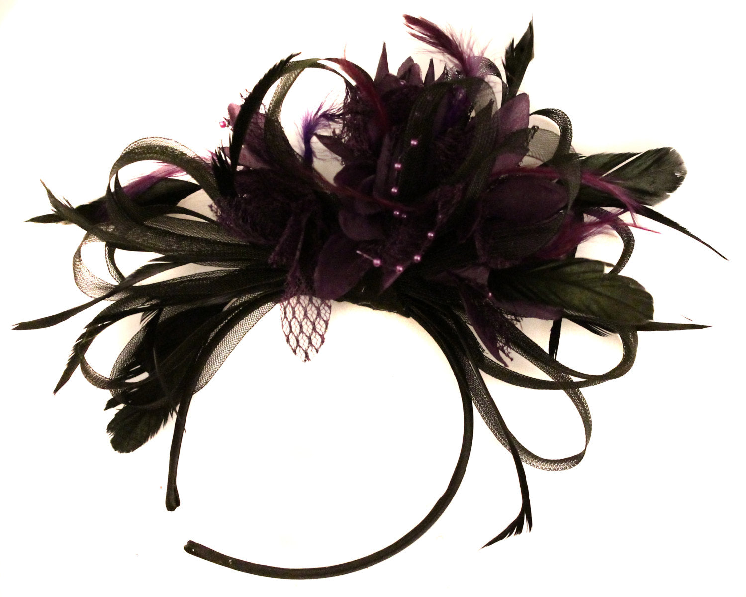Caprilite Black Hoop & Dark Purple Feathers Fascinator on Headband