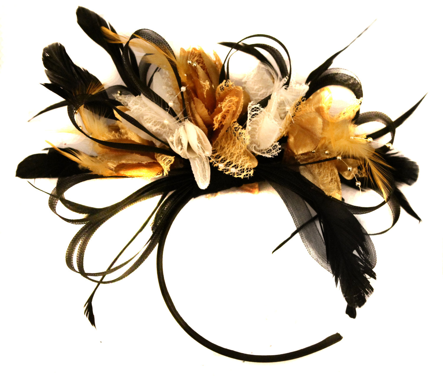 Caprilite Black Hoop & Gold and Cream Feathers Fascinator Headband Ascot Wedding