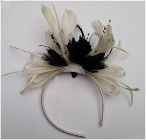 Caprilite Cream Hoop & Black Feathers Fascinator on Headband Ascot Wedding