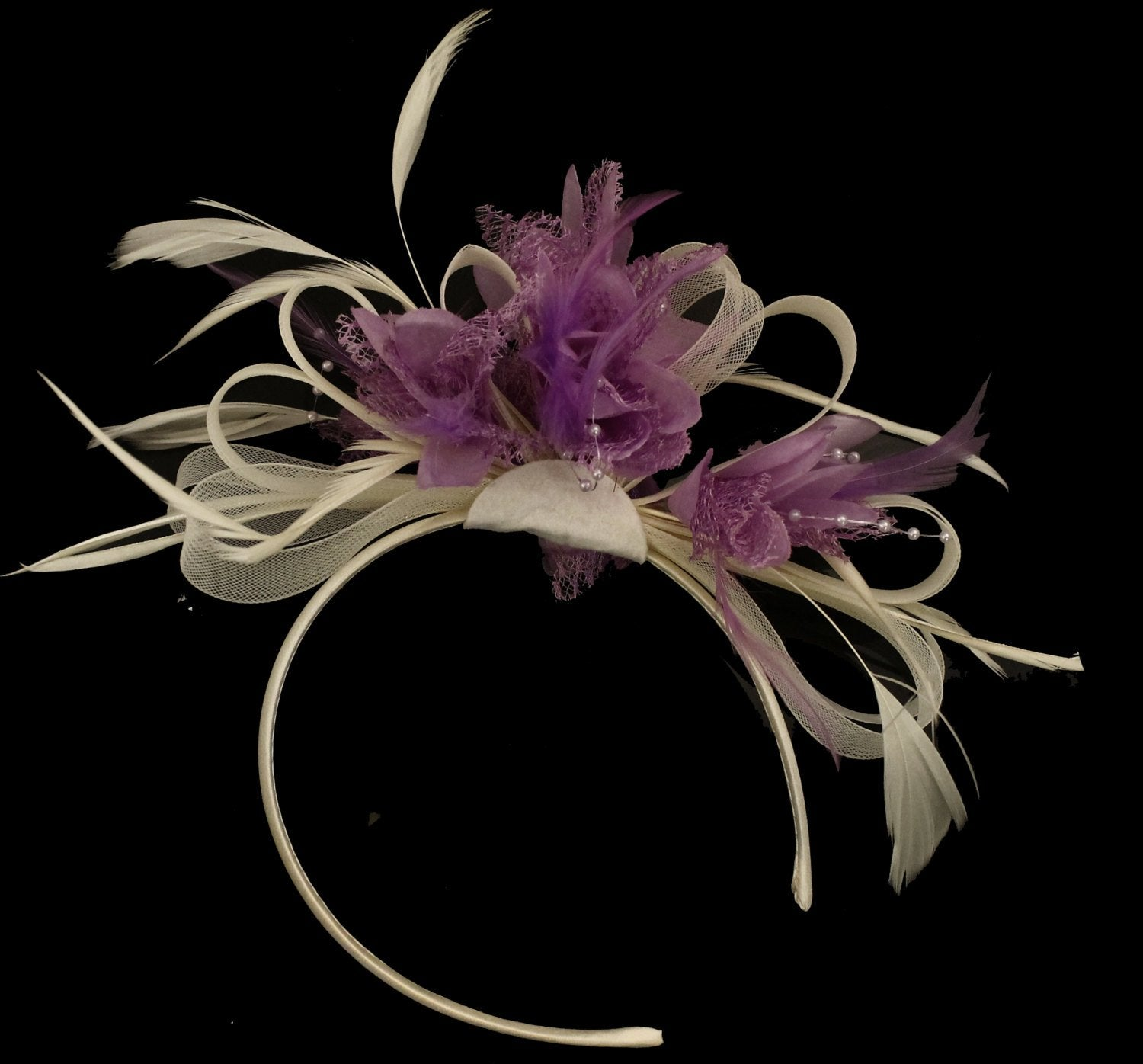 Caprilite Cream Hoop & Lilac Purple Feathers Fascinator On Headband for Weddings and Ascot Races