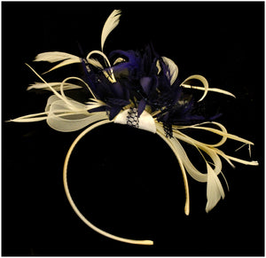 Caprilite Cream Hoop & Midnight Blue Feathers Fascinator On Headband for Weddings and Ascot Races
