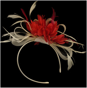 Caprilite Cream Hoop & Scarlet Red Feathers Fascinator On Headband for Weddings and Ascot Races