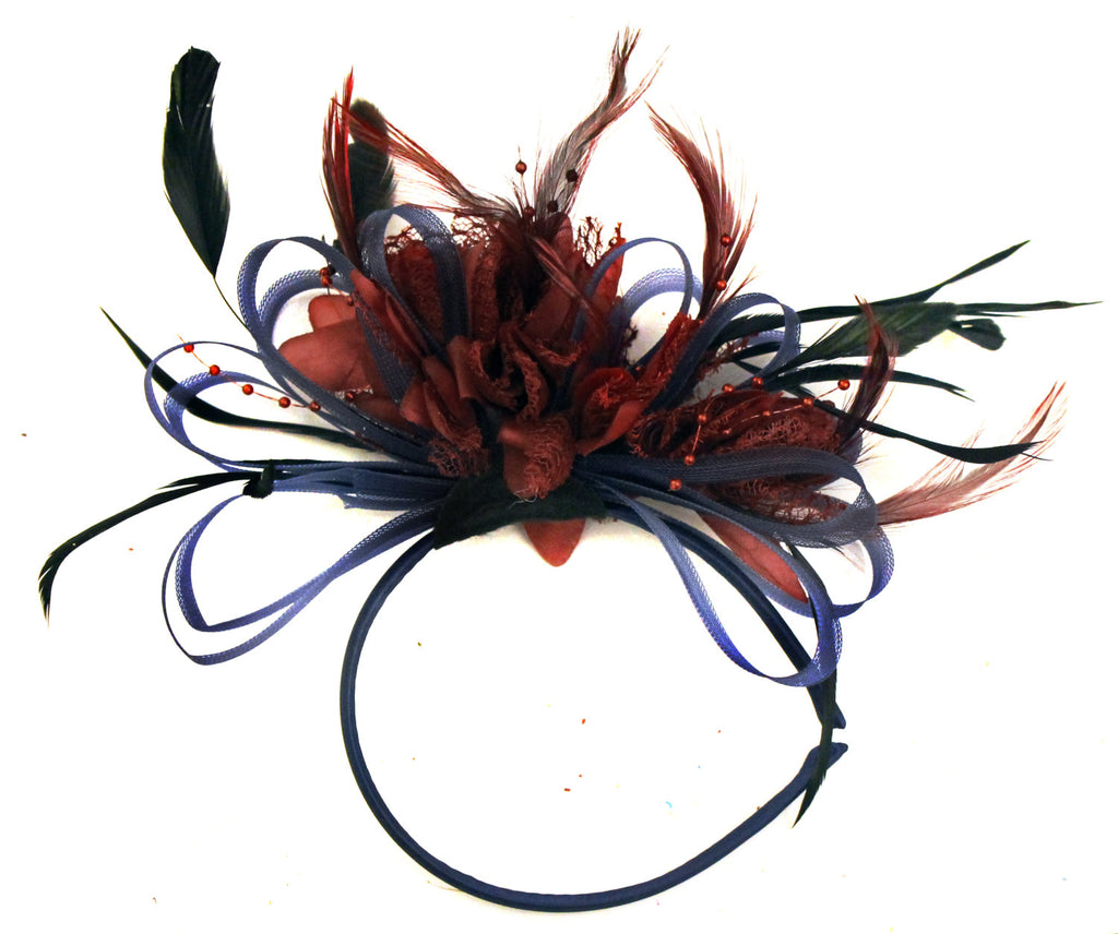 Caprilite Navy Blue Hoop & Burgundy Wine Red Fascinator Headband Ascot Wedding