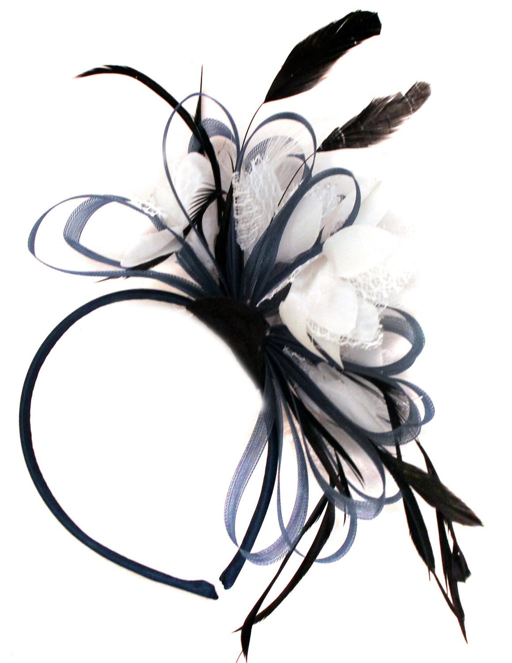 Caprilite Navy Blue Hoop & White Feathers Fascinator Headband Ascot Wedding