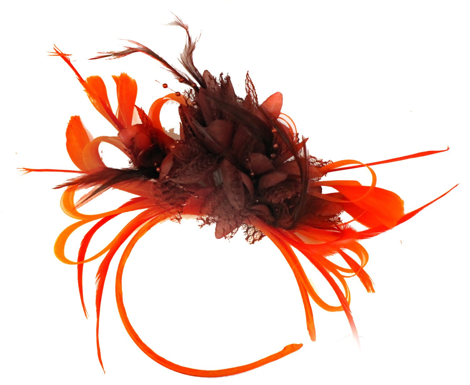 Caprilite Red Hoop & Burgundy Feathers Fascinator on Headband Ascot Wedding