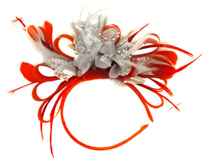 Caprilite Red Hoop & Silver Feathers Fascinator on Headband Ascot Wedding