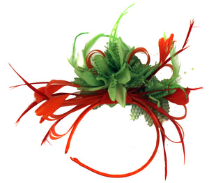 Caprilite Red Hoop & Lime Green Feathers Fascinator on Headband Ascot Wedding