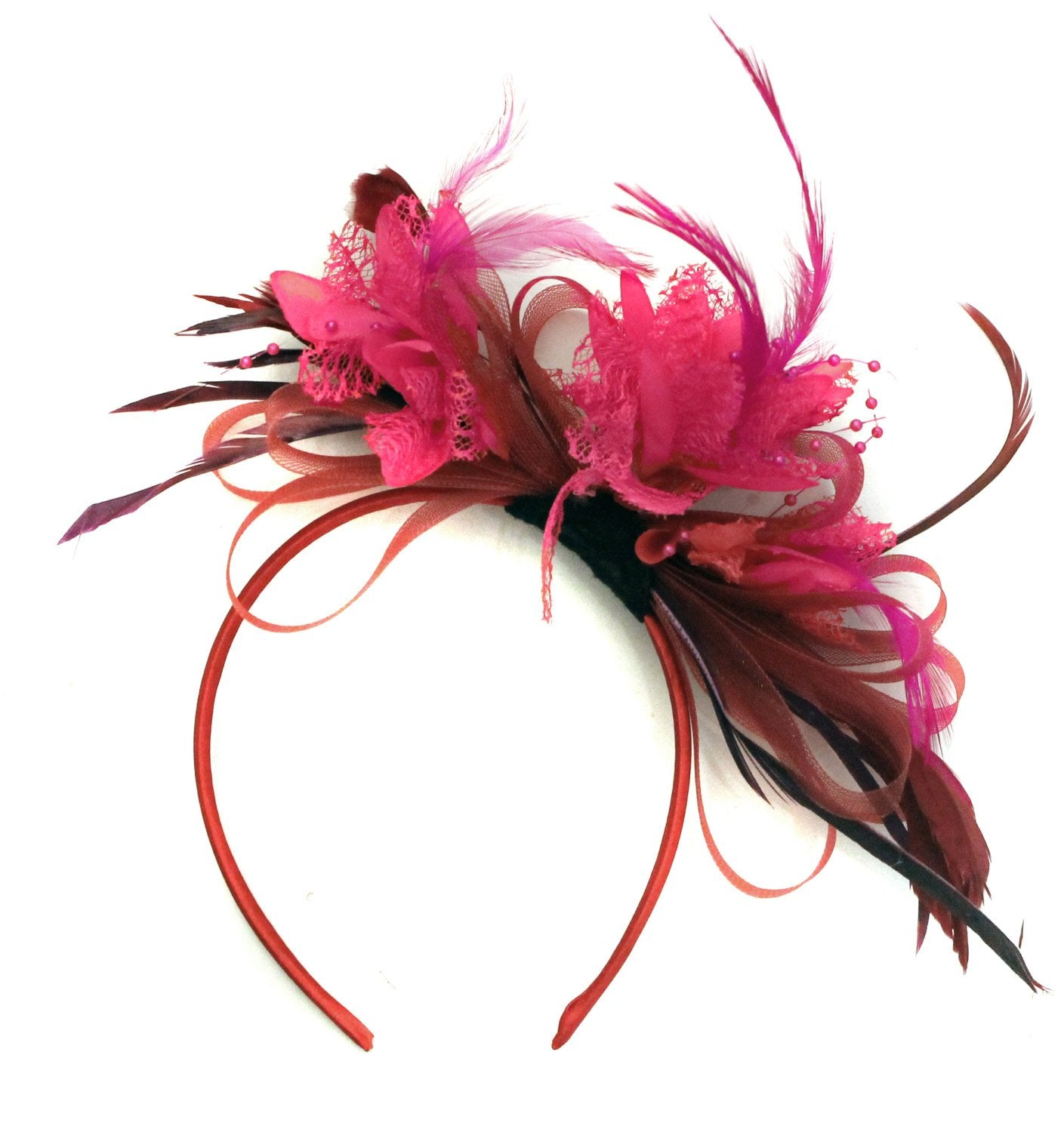 Caprilite Burgundy Wine Dark Red and Hot PINK  Fascinator Headband Alice Band Wedding Ascot Races Loop Net