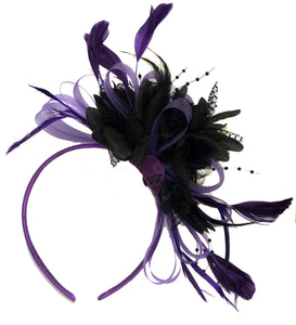 Caprilite Purple Hoop & Black Feathers Fascinator On Headband