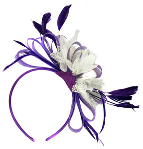 Caprilite Purple & White Fascinator on Headband Alice Band Wedding Ascot Races Loop Net