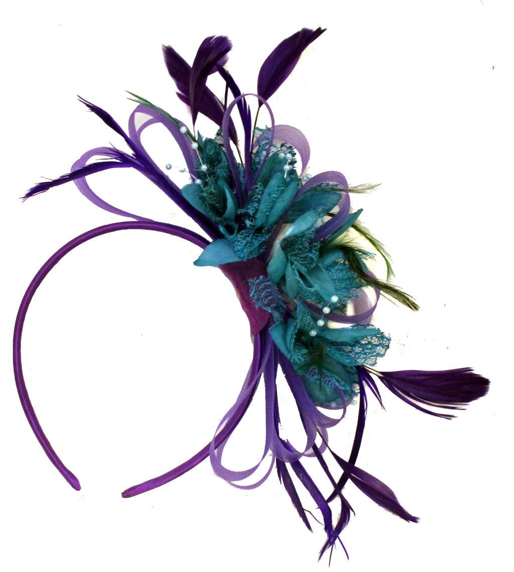 Caprilite Purple & Teal Fascinator on Headband Alice Band Wedding Ascot Races Loop Net