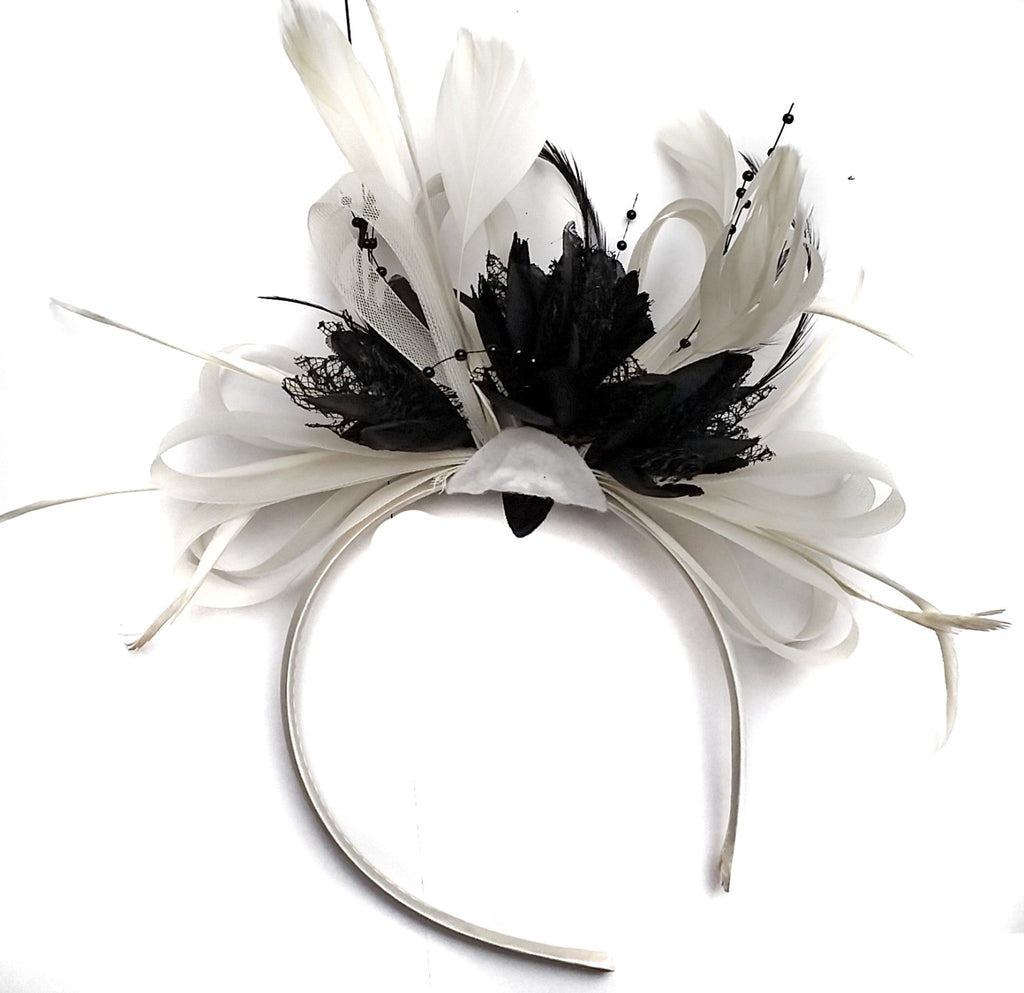 Caprilite White and Black Fascinator on Headband Alice Band Wedding Ascot Races Loop Net