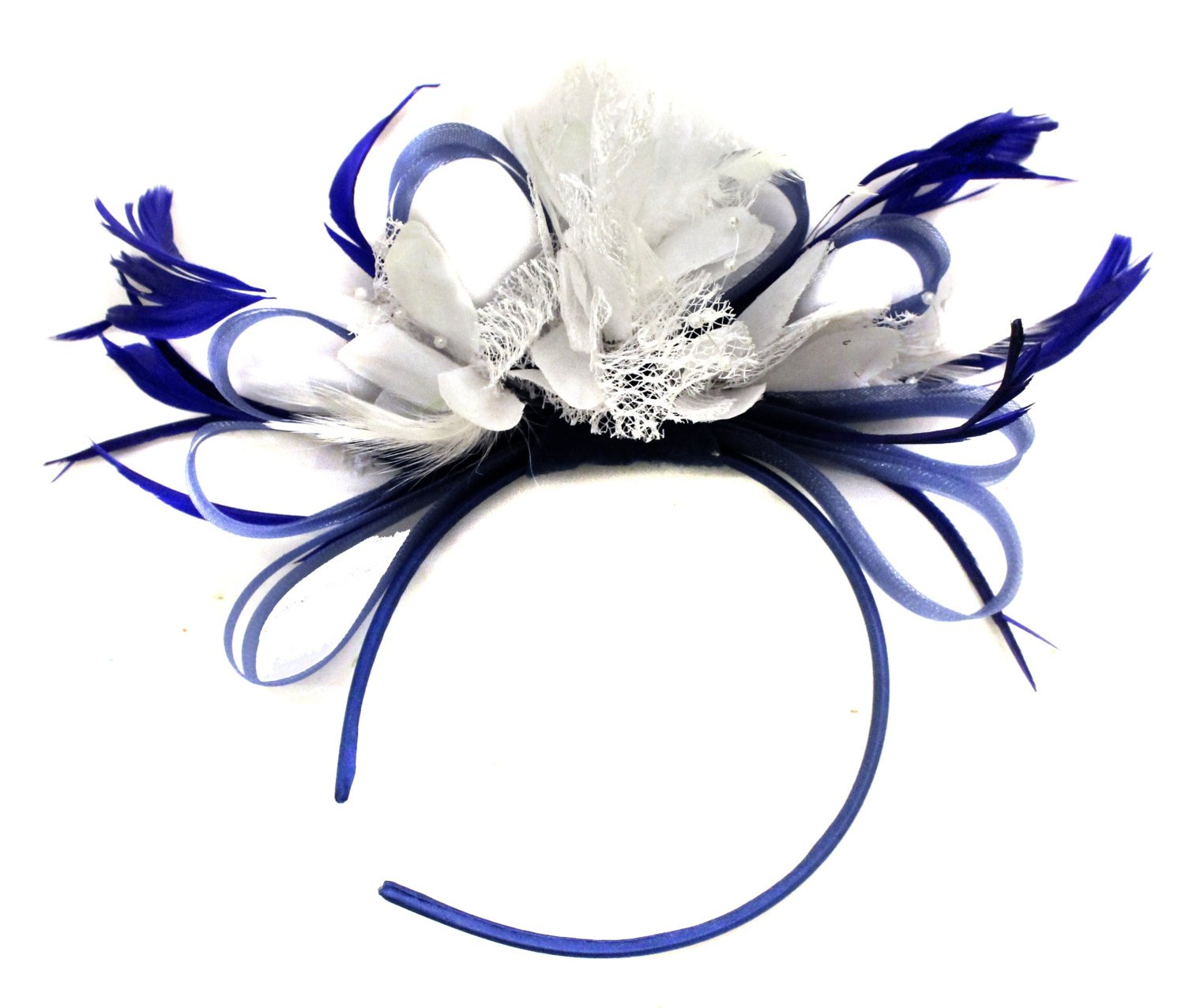 Caprilite Royal Blue and White Fascinator on Headband AliceBand UK Wedding Ascot Races Loop