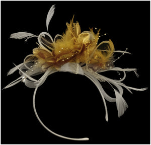 Caprilite Gold Feathers & White Hoop Fascinator On Headband
