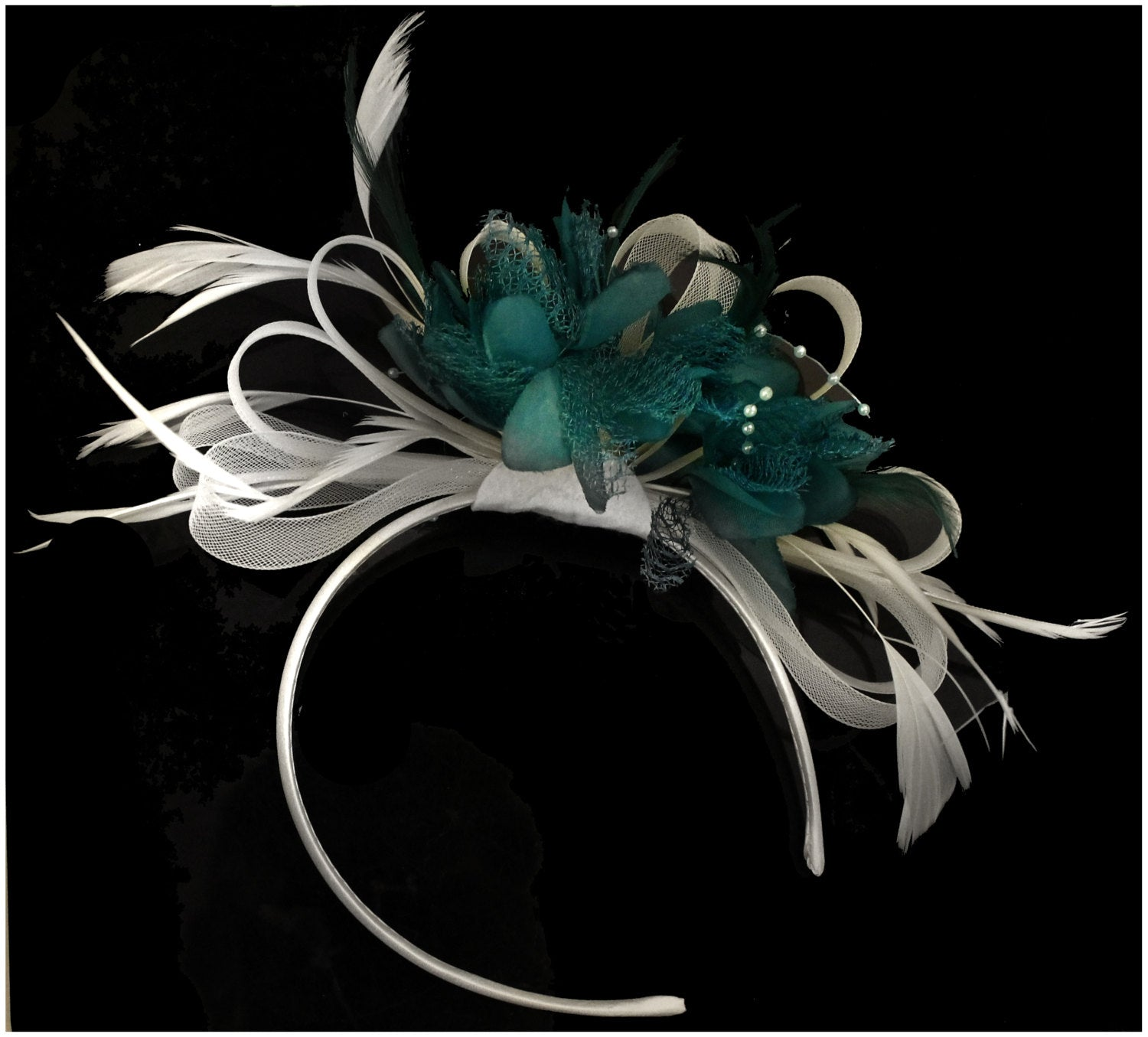 Caprilite White and Teal Hoop Fascinator On Headband Wedding Ascot