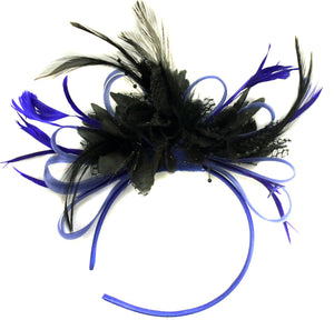 Caprilite Royal Blue Hoop and Black Feather Fascinator on Headband AliceBand UK Wedding Ascot Races Loop