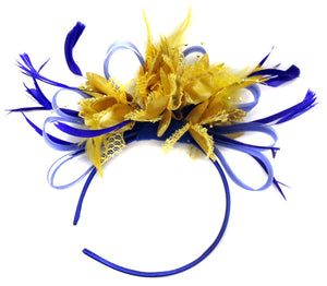 Caprilite Royal Blue Hoop and Gold Feather Fascinator on Headband AliceBand UK Wedding Ascot Races Loop