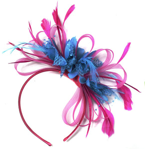Caprilite Fuchsia Pink & Aqua Blue Feathers Fascinator On Headband
