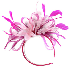 Caprilite Fuchsia Pink & Baby Pink Feathers Fascinator On Headband