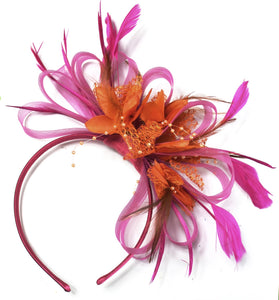 Caprilite Fuchsia Pink & Orange Feathers Fascinator on Headband Ascot Wedding