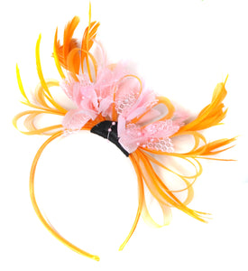 Caprilite Orange & Baby Pink Fascinator on Headband AliceBand UK Wedding Ascot Races Loop