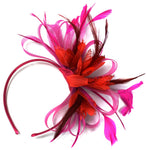 Caprilite Fuchsia Pink & Red Feathers Fascinator on Headband Ascot Wedding