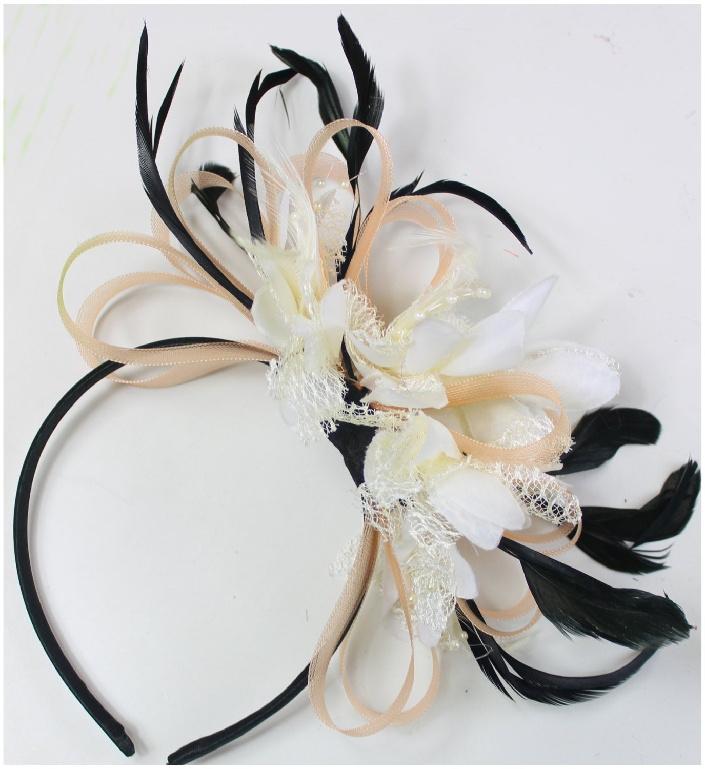 Caprilite Nude Salmon Pink & Cream Fascinator on Headband AliceBand UK Wedding Ascot Races Loop
