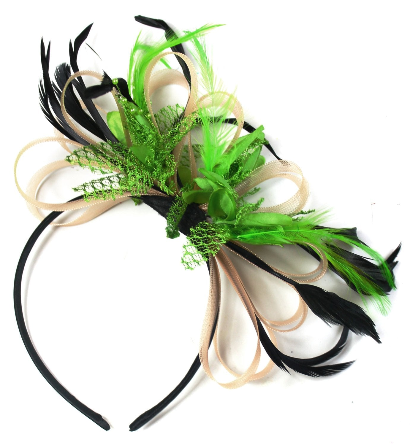 Caprilite Nude Salmon Pink & Lime Green Fascinator on Headband AliceBand UK Wedding Ascot Races Loop