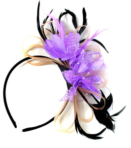 Caprilite Nude Salmon Pink & Lilac Purple Fascinator on Headband AliceBand UK Wedding Ascot Races Loop
