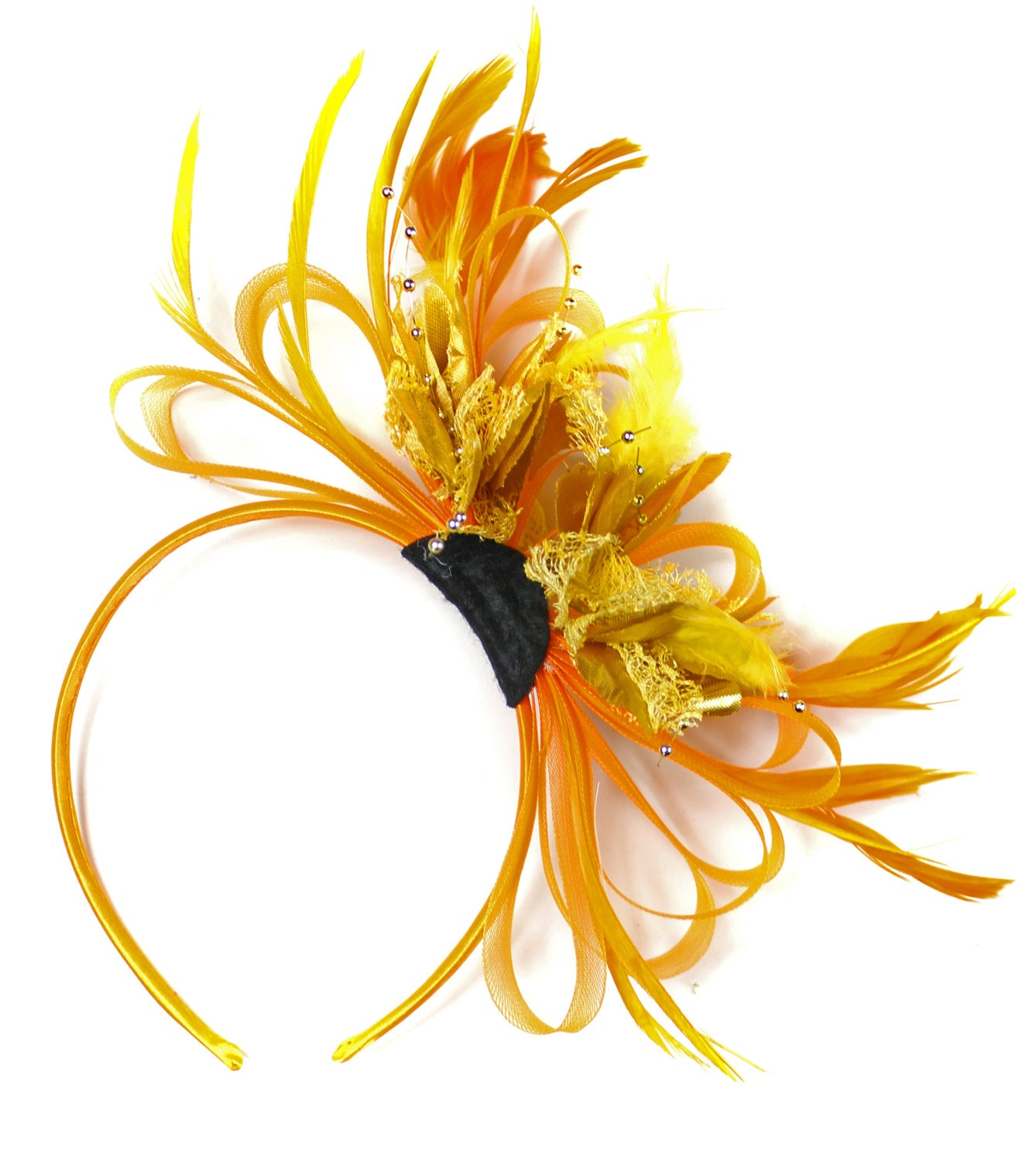 Caprilite Orange & Gold Fascinator on Headband AliceBand UK Wedding Ascot Races Loop
