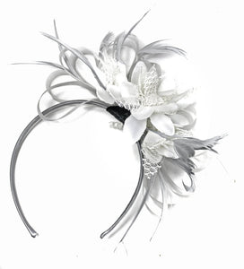 Caprilite Grey Silver & White Fascinator on Headband AliceBand UK Wedding Ascot Races Loop