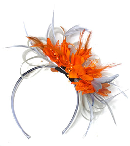 Caprilite Grey Silver & Orange Fascinator on Headband AliceBand UK Wedding Ascot Races Loop