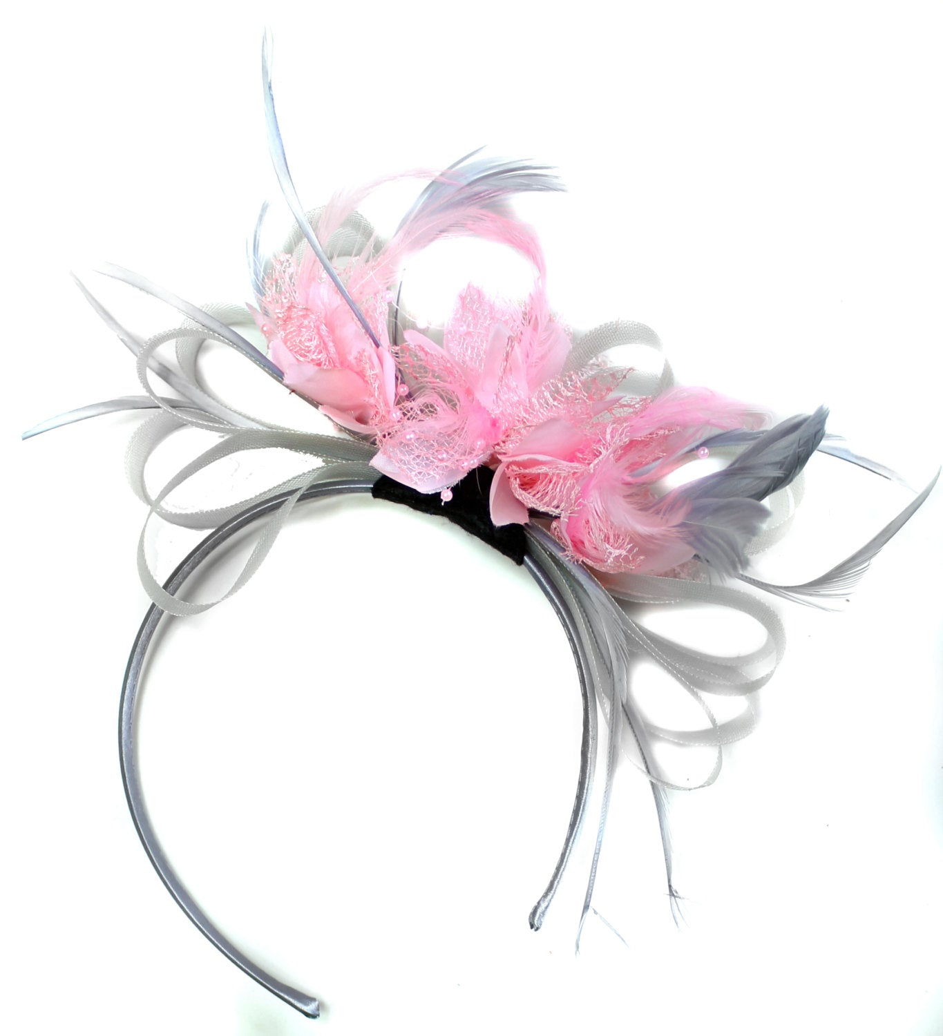 Caprilite Grey Silver & Baby Pink Fascinator on Headband AliceBand UK Wedding Ascot Races Loop