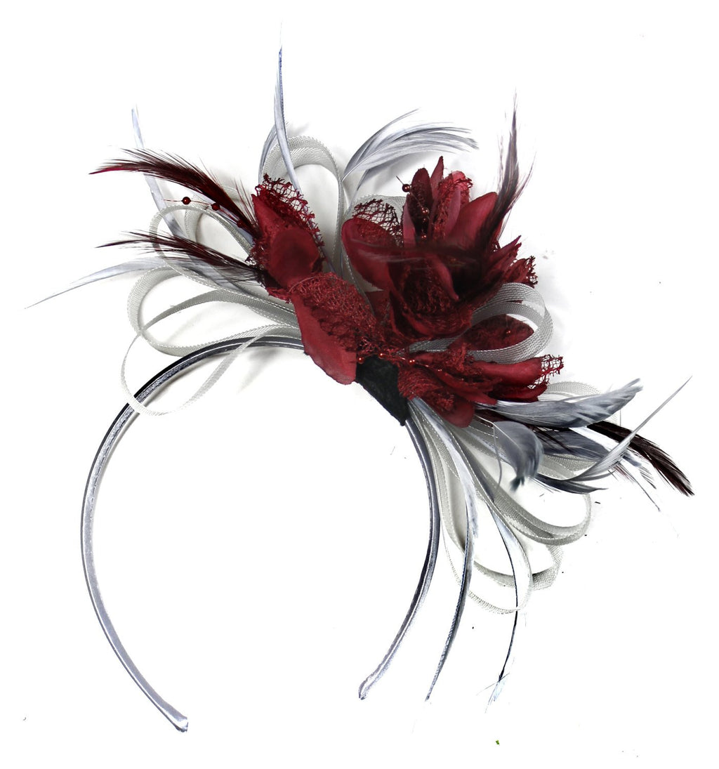 Caprilite Grey Silver & Burgundy Fascinator on Headband AliceBand UK Wedding Ascot Races Loop