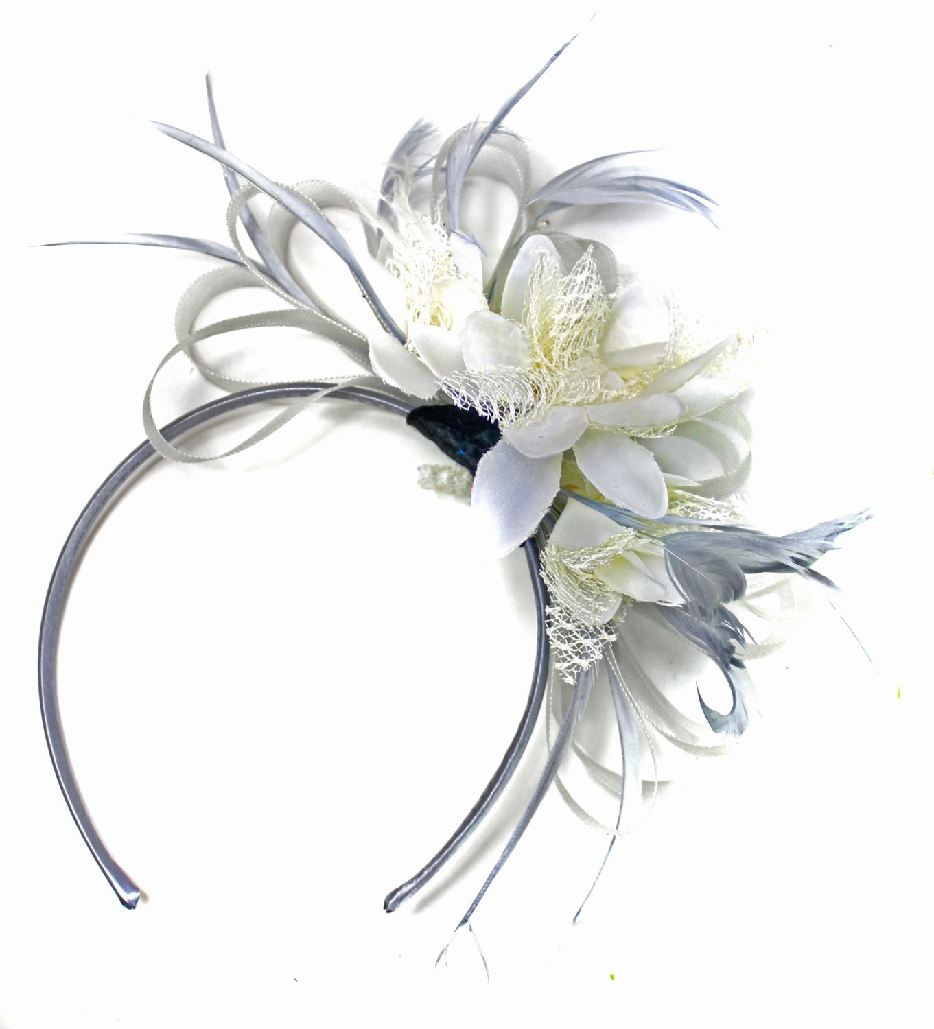 Caprilite Grey Silver & Cream Fascinator on Headband AliceBand UK Wedding Ascot Races Loop