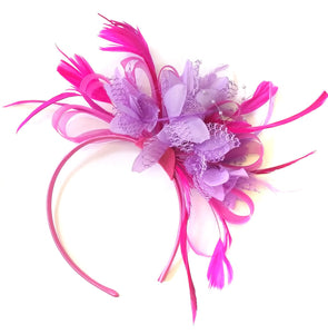 Caprilite Fuchsia Hot Pink and Lilac Purple Wedding Fascinator Headband Alice Band Ascot Races Loop Net