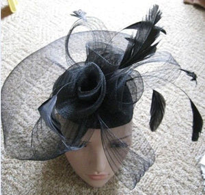 Caprilite Black Net Fascinator Hat Veil on Clips - Wedding Ascot Races Hair Accessories