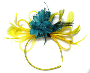 Caprilite Bright Yellow & Teal Dark Turquoise Feathers Fascinator on Headband
