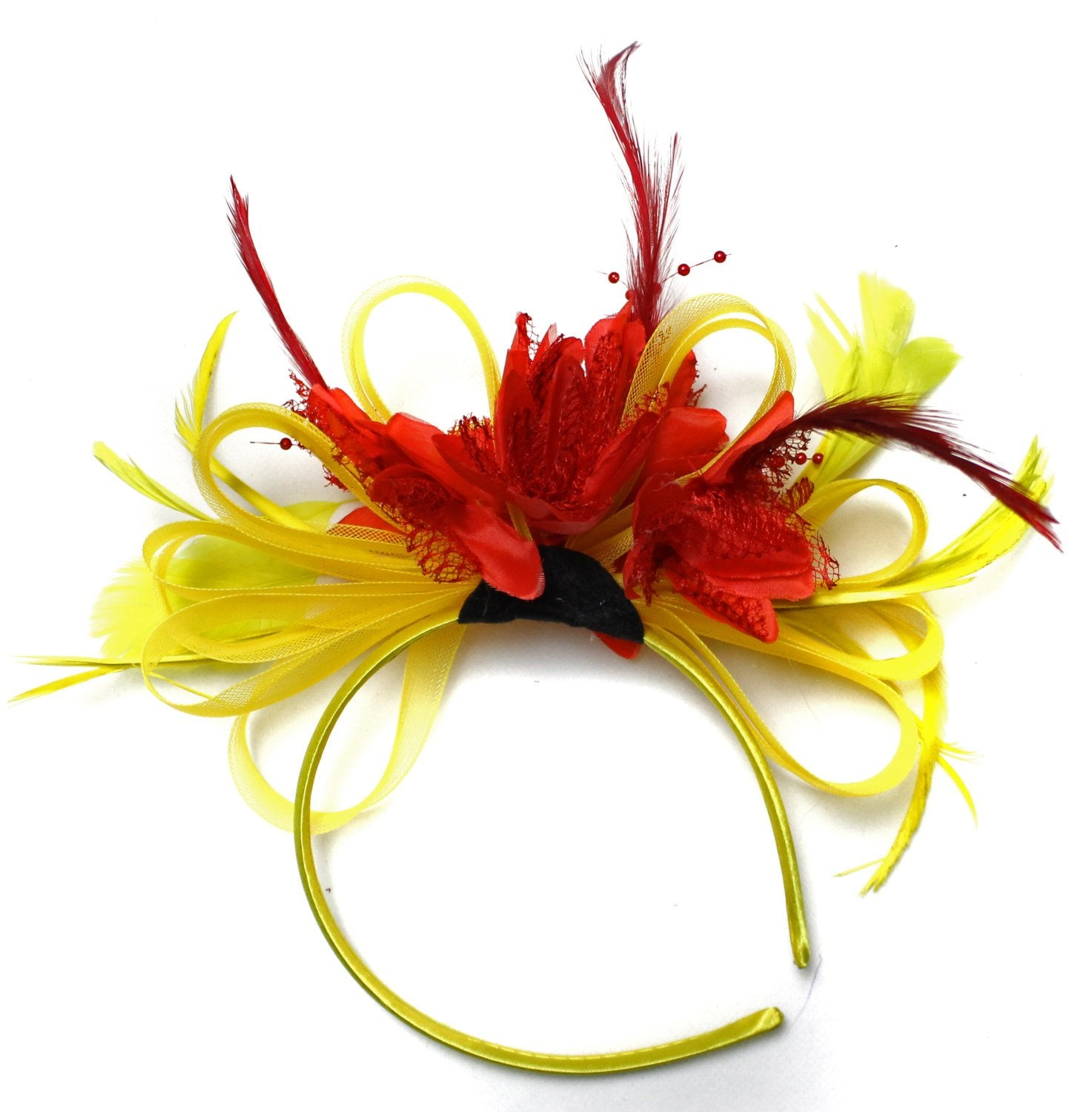 Caprilite Bright Yellow & Scarlet Red Feathers Fascinator on Headband