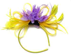 Caprilite Bright Yellow & Lilac Light Purple Feathers Fascinator on Headband