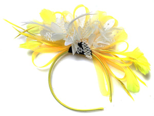 Caprilite Bright Yellow & White Feathers Fascinator on Headband