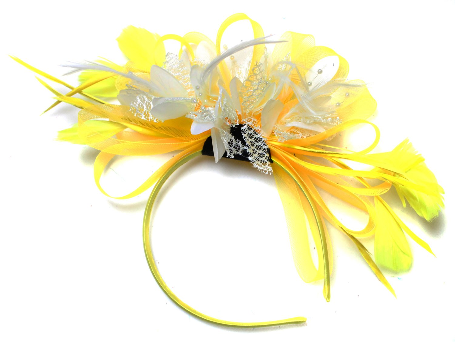 Caprilite Bright Yellow & Cream Feathers Fascinator on Headband